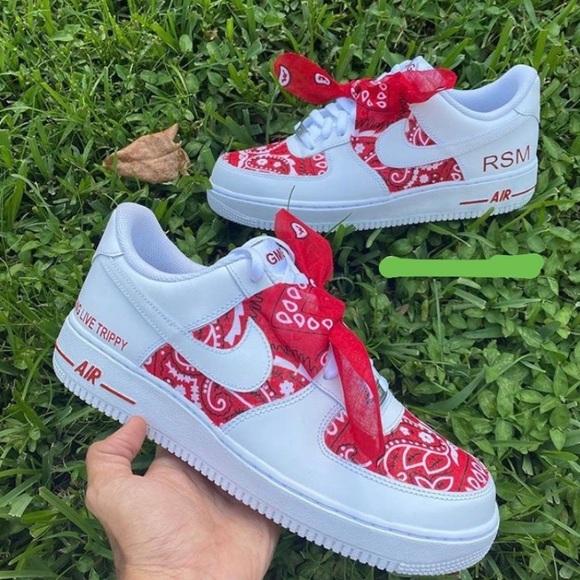 Custom Red Bandana Air Force | Poshmark